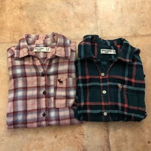 Two Abercrombie Kids Flannels